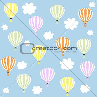 aerostats in sky. pattern