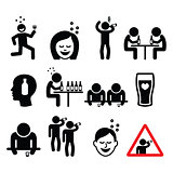 Drunk man and woman, people drinking alcohol icons set