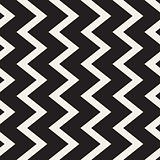 Vector Seamless Black and White Vertical ZigZag Lines Geometric Pattern