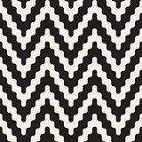 Vector Seamless Black and White ZigZag Rounded Lines Geometric Pattern