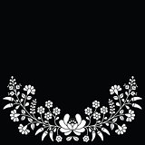 Hungarian white floral folk pattern - Kalocsai embroidery with flowers and paprika