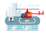 Helicopter on roof