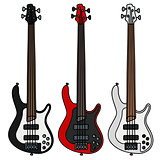 Electric fretless bass guitars