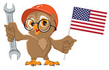 Labor Day USA. Owl holding wrench and American flag