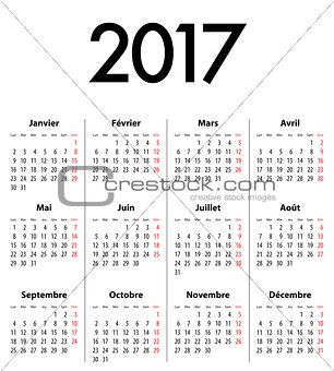 French Calendar grid for 2017 year