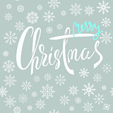 Merry Christmas blue and white lettering design with snowflakes. Christmas background. EPS10