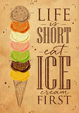 Poster ice cream cone kraft
