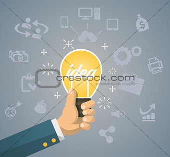 Flat style modern idea innovation light bulb infographic concept. Conceptual web illustration of businessman hand holding lamp.