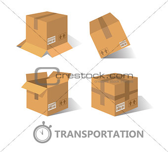 Flat boxes icons set. EPS10
