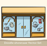 Doodle showcase dishes vector set