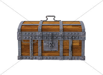 old chest on white background