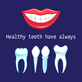 Vector healthy teeth and implants