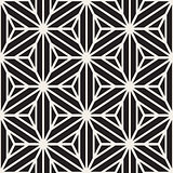 Vector Seamless Black And White Star Lines Grid Pattern