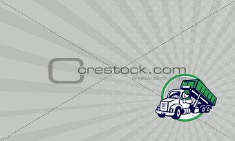 Business card Roll-Off Bin Truck Driver Thumbs Up Circle Cartoon