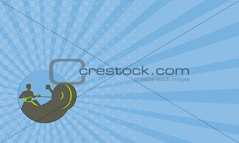 Business card Rower Rowing Machine Circle Retro