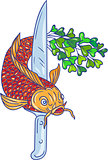 Koi Nishikigoi Carp Fish Microgreen Tail Knife Drawing