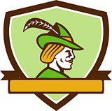 Robin Hood Side Ribbon Crest Retro