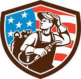 Welder Looking Side USA Flag Crest Retro