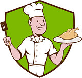 Chef Cook Roast Chicken Spatula Crest Cartoon