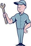 Handyman Holding Spanner Cartoon