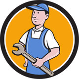Repairman Holding Spanner Circle Cartoon