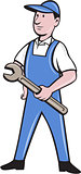 Repairman Holding Spanner Cartoon