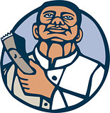 Barber Hair Clipper Scissors Circle Linocut