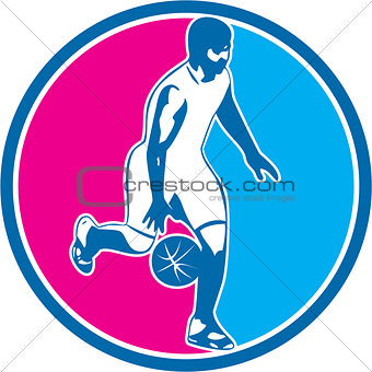 Basketball Player Dribbling Ball Circle Retro
