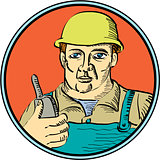 Builder Carpenter Holding Radio Phone Circle Retro