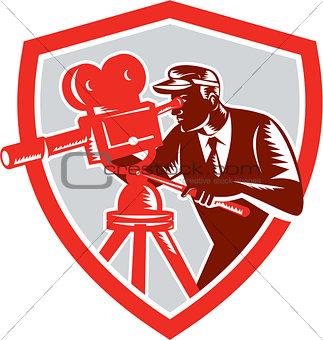 Cameraman Vintage Movie Camera Shield Woodcut