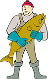 Fishmonger Standing Salmon Fish Cartoon