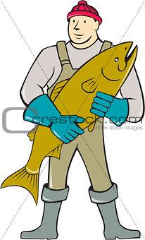 Fishmonger Standing Salmon Fish Cartoon