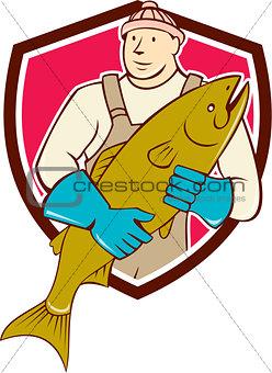 Fishmonger Holding Salmon Fish Shield Cartoon