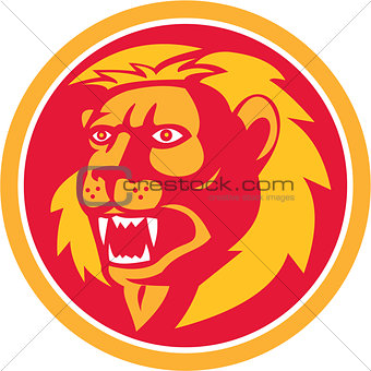 Angry Lion Head Roar Circle Retro