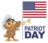 Patriot Day USA. Owl bugler in white cap plays horn