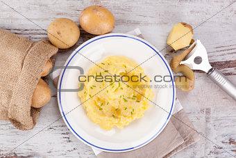 Mashed potatoes background.