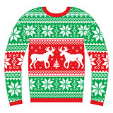 Ugly Christmas jumper or sweater with reindeer and snowflakes red and green pattern