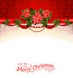 Holiday background with poinsettia