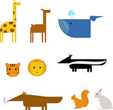 Cartoon animals. zoo set wildlife flat vector illustration.