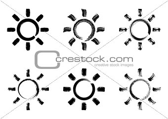 Black vector sun design elements