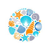 Colorful vector summer sea shells