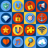 Set of Modern flat web icons. SEO, development, security, internet and music