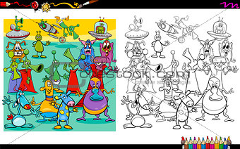 alien characters coloring page