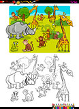 safari animals coloring page