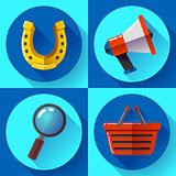 Set icons SEO marketing. Flat design style.