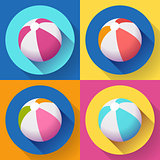 Set of Beach Ball icons. Modern Flat style with a long shadow