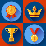 Icon set Golden victory symbols champion cup, crown, medal, badge. Flat design.