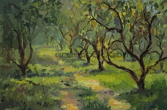 Apple trees, oil painting