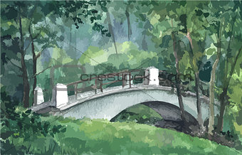 Bridge in a park, watercolor