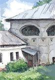 Old architecture in Russia, watercolor